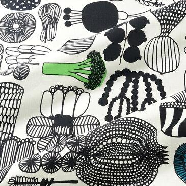 マリメッコ marimekko ファブリック生地 プータルフリン パルハート (960 ホワイト×ブラック×グリーン) 10cm単位カット販売 063310 960 Cotton fabric PUUTARHURIN PARHAAT マリメッコ生地