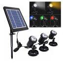 3灯 ソーラースポットライト ソーラー充電式 3灯LEDライト 暖光 白光 RGB ソーラーライト ガーデンライ...