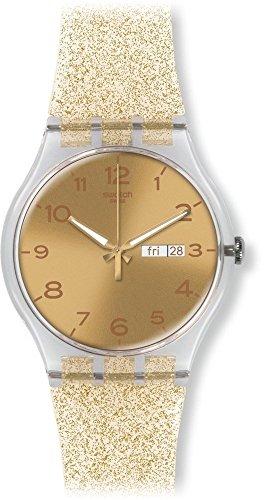 スウォッチ 腕時計 レディース SUOK704 Swatch Golden Dial Golden Sparkle Silicone Ladies Watch SUOK704スウォッチ 腕時計 レディース SUOK704