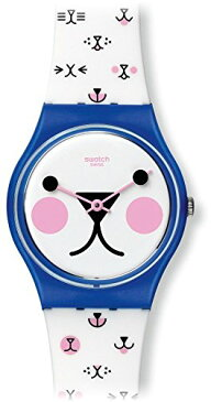 スウォッチ 腕時計 レディース GN241 Swatch Cattitude White (Kitty Face) Dial White Silicone Ladies Watch GN241スウォッチ 腕時計 レディース GN241
