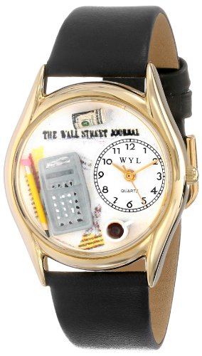 気まぐれな腕時計 かわいい プレゼント クリスマス ユニセックス C0620003 Whimsical Watches Women's C0620003 Classic Gold Accountant Black Leather And Goldtone Watch気まぐれな腕時計 かわいい プレゼント クリスマス ユニセックス C0620003