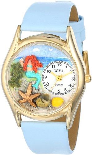 気まぐれな腕時計 かわいい プレゼント クリスマス ユニセックス C1210011 Whimsical Watches Kids' C1210011 Classic Gold Mermaid Light Blue Leather And Goldtone Watch気まぐれな腕時計 かわいい プレゼント クリスマス ユニセックス C1210011