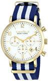 ブローバ 腕時計 メンズ 44B107 Caravelle New York Men's 44B107 Gold-Tone Stainless Steel Watch with Blue and White Nylon Bandブローバ 腕時計 メンズ 44B107