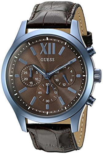 ゲス GUESS 腕時計 メンズ U0789G2 GUESS Men's U0789G2 Iconic Sky Blue Multifunction Watch with Brown Genuine Leatherゲス GUESS 腕時計 メンズ U0789G2