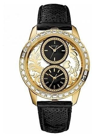 ゲス GUESS 腕時計 レディース W20015L1 GUESS W20015L1 Women's Dual Time Gold Tone Brocade Black Leather Sequin Strap Watchゲス GUESS 腕時計 レディース W20015L1