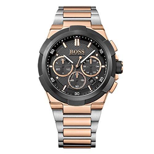 ヒューゴボス 高級腕時計 メンズ Hugo Boss Men's Classic 46mm Rose Gold-Tone Steel Bracelet & Case Quartz Black Dial Watch 1513358ヒューゴボス 高級腕時計 メンズ