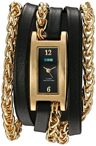 ラメールコレクションズ 腕時計 レディース LMPALERMO1001 La Mer Collections Women's Quartz Gold-Tone and Leather Watch, Color:Black (Model: LMPALERMO1001)ラメールコレクションズ 腕時計 レディース LMPALERMO1001