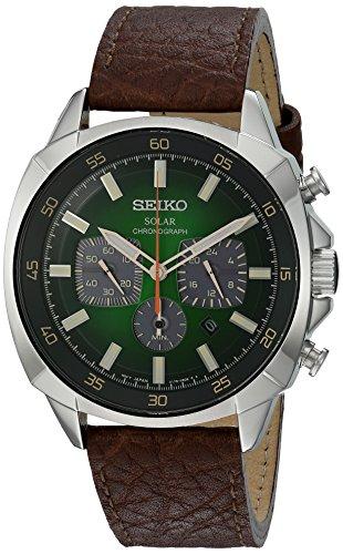 【当店1年保証】セイコーSeiko SSC513 Solar Chronograph Stainless Steel and Leather Watch (Brown)