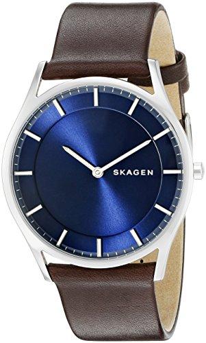 スカーゲン 腕時計 メンズ SKW6237 Skagen Men's Holst Slim Quartz Stainless Steel and Leather Casual Watch, Color: Silver-Tone, Brown (Model: SKW6237)スカーゲン 腕時計 メンズ SKW6237