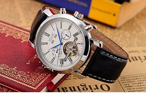 スチームパンク steampunk メンズ 腕時計 懐中時計 Mix&Rock Mens Elegant Leather Automatic Mechanical White Dial Wrist Watch with Date Day Displayスチームパンク steampunk メンズ 腕時計 懐中時計