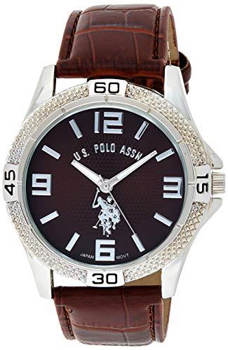 ユーエスポロアッスン 腕時計 メンズ USC50227 U.S. Polo Assn. Classic Men's USC50227 Silver-Tone Watch with Faux-Leather Bandユーエスポロアッスン 腕時計 メンズ USC50227