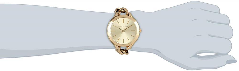 【当店1年保証】マイケルコースMichael Kors Slim Runway Champagne Dial Gold-tone Ladies Watch MK3222