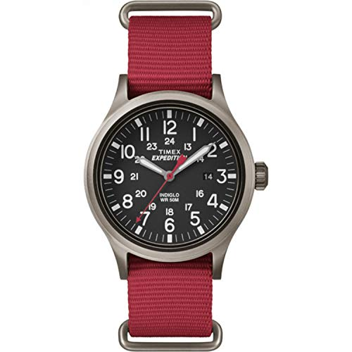 【当店1年保証】タイメックスTimex Men's TW4B04500 Expedition Scout Red Nylon Slip-Thru Strap Watch