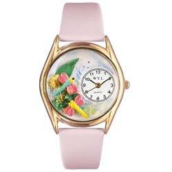 気まぐれな腕時計 かわいい プレゼント クリスマス ユニセックス C1210007 Whimsical Watches Women's C1210007 Classic Gold Dragonflies Pink Leather And Goldtone Watch気まぐれな腕時計 かわいい プレゼント クリスマス ユニセックス C1210007