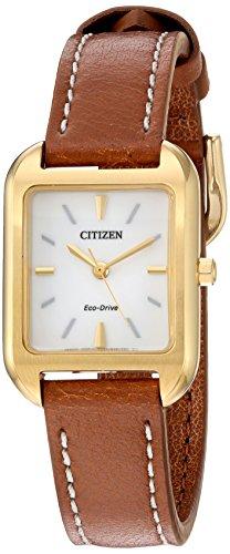 腕時計, レディース腕時計  EM0492-02A Citizen Womens Silhouette Quartz Stainless Steel and Leather Casual Watch, Color:Brown (Model: EM0492-02A) EM0492-02A