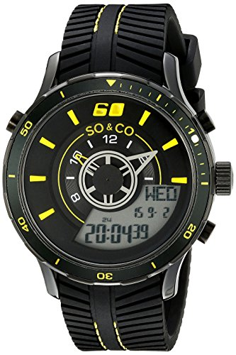 SO&CO ニューヨーク 腕時計 メンズ 5035.6 SO&CO New York Men's 5035.6 Monticello Analog-Digital Display Black Rubber Strap WatchSO&CO ニューヨーク 腕時計 メンズ 5035.6