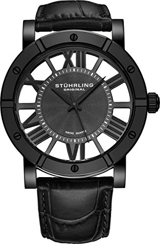 2bcc002841 ストゥーリングオリジナル 腕時計 メンズ 881.03 Stuhrling Original Black PVD Mens Watch Red  Leather Strap - Swiss Quartz Ronda Mvmt (Black)ストゥーリング ...