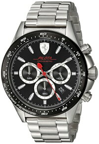 【当店1年保証】フェラーリScuderiaFerrariMen's'PILOTA'QuartzStainlessSteelCasualWatch,Color:Silver-Toned(Mo