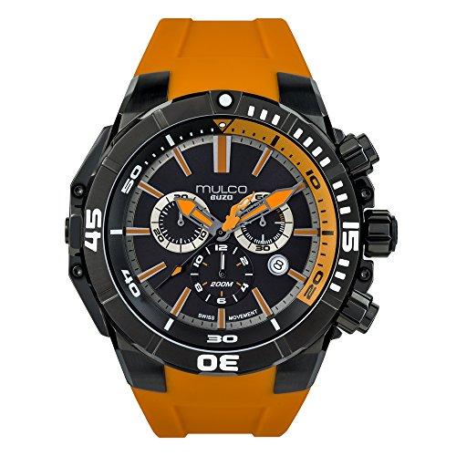 マルコ 腕時計 メンズ MB7-3039-305 Mulco Buzo Marine Quartz Swiss Chronograph Movement Men's Watch | Premium Analog Display | Silicone Band | Water Resistant Stainless Steel Watch | MB7-3039 (Orange Black)マルコ 腕時計 メンズ MB7-3039-305