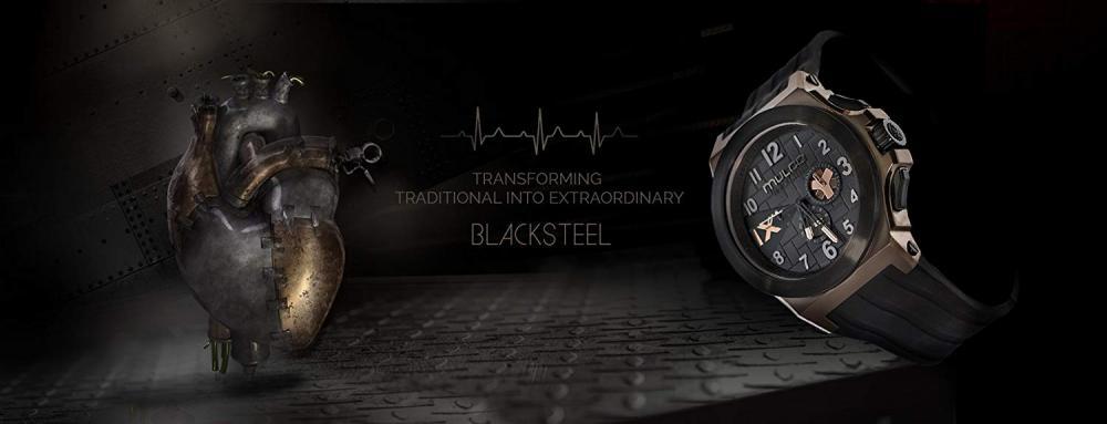マルコ 腕時計 メンズ Mulco Blacksteel Swiss Multifunction Movement Men's Watch | Premium Analog Display with Black Accents | Black Silicone Watch Band | Water Resistant Stainless Steel (Black/Rosegold)マルコ 腕時計 メンズ