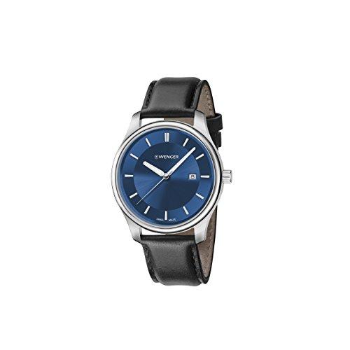 ウェンガー スイス アーミーナイフ メンズ 腕時計 01.1421.112 Wenger Men's City Classic Stainless Steel Swiss-Quartz Watch with Leather Calfskin Strap, Black, 17 (Model: 01.1421.112ウェンガー スイス アーミーナイフ メンズ 腕時計 01.1421.112