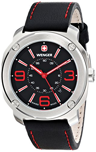 ウェンガー スイス アーミーナイフ メンズ 腕時計 01.1051.103 Wenger Men's 01.1051.103 Escort Stainless Steel Watch with Black Leather Bandウェンガー スイス アーミーナイフ メンズ 腕時計 01.1051.103