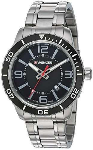ウェンガー スイス アーミーナイフ メンズ 腕時計 01.0851.118 Wenger Men's Roadster Swiss-Quartz Watch with Stainless-Steel Strap, Silver, 22 (Model: 01.0851.118ウェンガー スイス アーミーナイフ メンズ 腕時計 01.0851.118