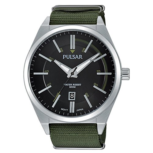 パルサー SEIKO セイコー 腕時計 メンズ PS9357 Pulsar Men's 45mm Green Cloth Band Steel Case Quartz Black Dial Analog Watch PS9357パルサー SEIKO セイコー 腕時計 メンズ PS9357