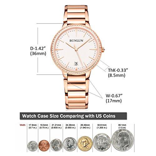 ビンルン 腕時計 レディース BL0070L-SRW-S BINLUN Ladies Automatic Watches Ultra Thin Waterproof Luxury 18K Rose Gold Watch with Date Diamond Bezelビンルン 腕時計 レディース BL0070L-SRW-S