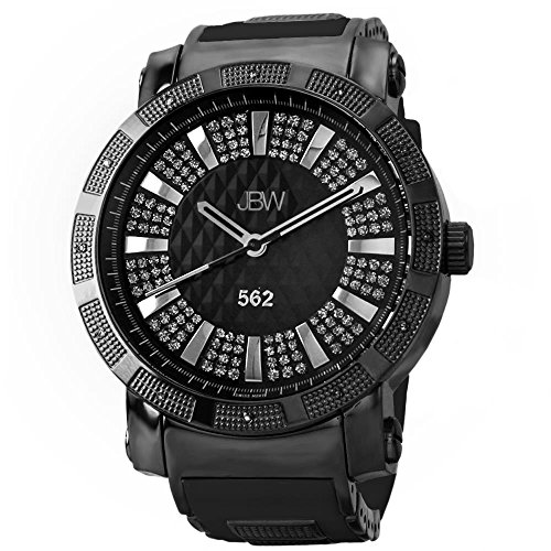 高級腕時計 メンズ JB-6225-J JBW Men's JB-6225-J 562 Pave Dial Diamond Gold Black Rubber Band Watch高級腕時計 メンズ JB-6225-J