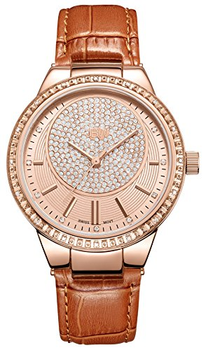 高級腕時計 レディース J6345D JBW Luxury Women's Camille 0.16 Carat Diamond Wrist Watch with Leather Bracelet高級腕時計 レディース J6345D