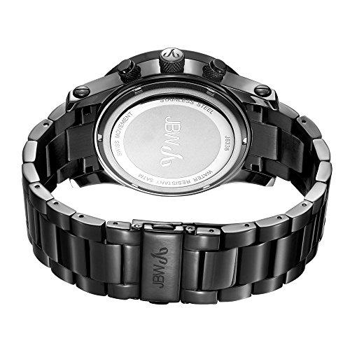 """高級腕時計 メンズ J6336A JBW Men's""""Lynx"""" J6336A Multi Function Diamond Watch with 3 Hand Swiss Movement 46mm Diameter, Black Band/Black Dial高級腕時計 メンズ J6336A"""
