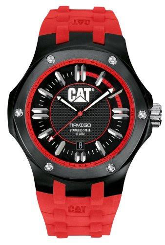 キャタピラー タフネス 腕時計 メンズ 頑丈 A116128128 CAT WATCHES Men's A116128128 Navigo Date Black and Red Analog Dial Red Rubber Strap Watchキャタピラー タフネス 腕時計 メンズ 頑丈 A116128128