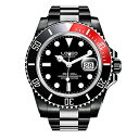 腕時計 ロレオ メンズ L9201o 【送料無料】LOREO Mens Full Black Stainless Steel Sapphire Glass Rotating Bezel Military Waterpoof Mens Automatic Watch (Red with Stainless Steel Band)腕時計 ロレオ メンズ L9201o