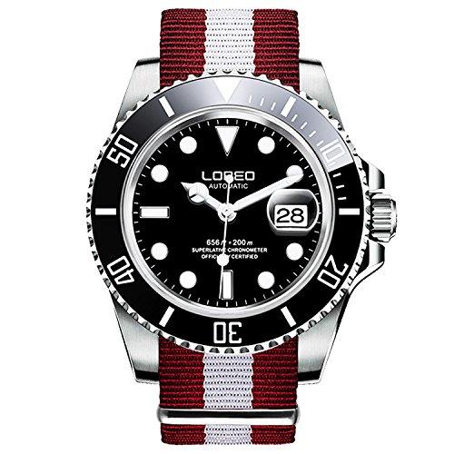 ロレオ 腕時計 メンズ LO0921j LOREO Mens GMT Silver Stainless Steel Sapphire Black Rotating bezel Mens nylon Automatic Watchロレオ 腕時計 メンズ LO0921j