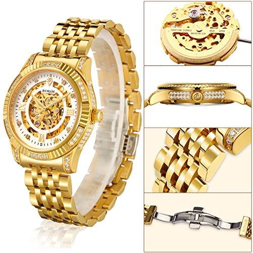 ビンルン 腕時計 メンズ BL0018G-SGW-A BINLUN Men's Gold Automatic Luxury Skeleton Watches Gift to Fatherビンルン 腕時計 メンズ BL0018G-SGW-A