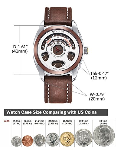 ビンルン 腕時計 メンズ BL0074G-LSBrBr BINLUN Men's Automatic Mechanical Unique Cool Wrist Watch Water Resistant Leather Straps Brownビンルン 腕時計 メンズ BL0074G-LSBrBr