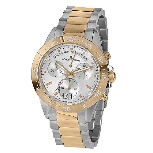 ジャックルマン オーストリア 腕時計 メンズ ケビンコスナー愛用 40-10C Jacques Lemans Men's Sport Jubilaeumsuhr 44mm Two Tone Steel Bracelet Steel Case Quartz Watch 40-10Cジャックルマン オーストリア 腕時計 メンズ ケビンコスナー愛用 40-10C