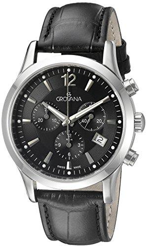 グロバナ スイスウォッチ 腕時計 メンズ 1209-9537 Grovana Men's 1209-9537 Traditional Analog Display Swiss Quartz Black Watchグロバナ スイスウォッチ 腕時計 メンズ 1209-9537