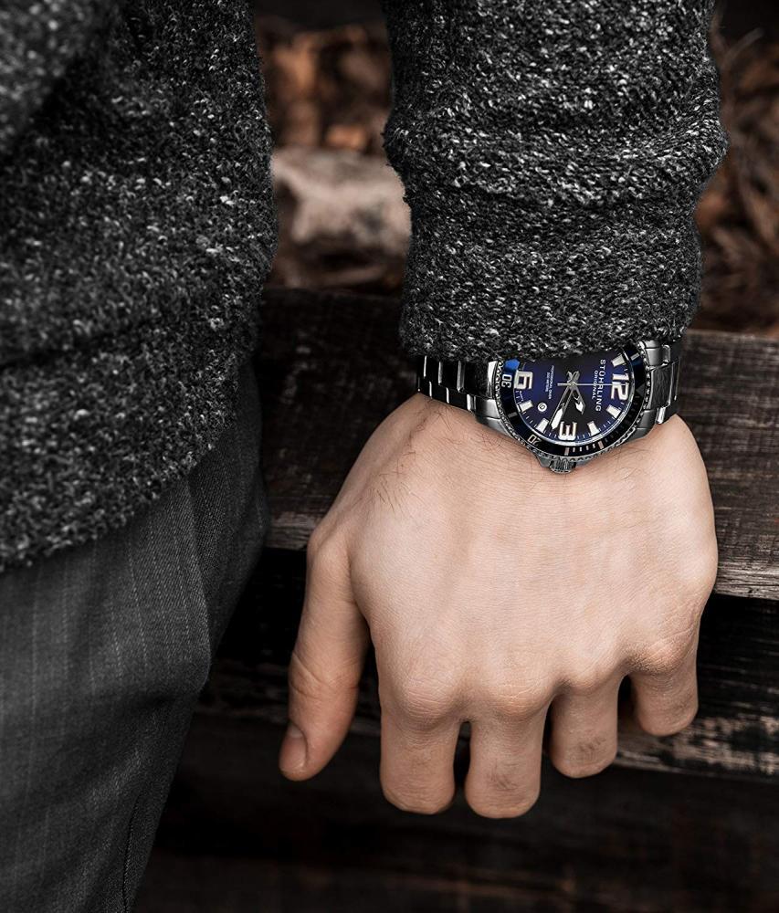 ストゥーリングオリジナル 腕時計 メンズ 1.91E+11 Stuhrling Original Mens Swiss Quartz Stainless Steel Professional Sport Dive Watch, Water-Resistant 200 Meters, Blue Dial, Easy-Adjustable Bracelet, Screwストゥーリングオリジナル 腕時計 メンズ 1.91E+11