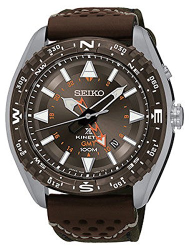 セイコー 腕時計 メンズ SUN061 Seiko SUN061 Men's Prospex Kineti Stainless Steel Brown Leather Band Brown Dial Watchセイコー 腕時計 メンズ SUN061