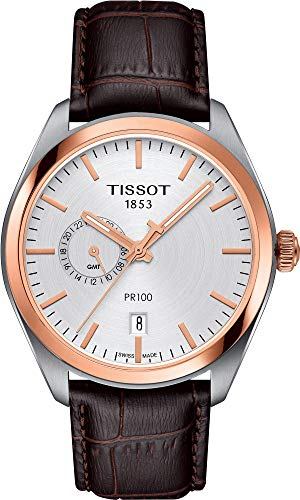 ティソ 腕時計 メンズ Tissot T101.452.26.031.00 Men's PR 100 Gent Dualtime Watch Brown 39mm Stainless Steelティソ 腕時計 メンズ