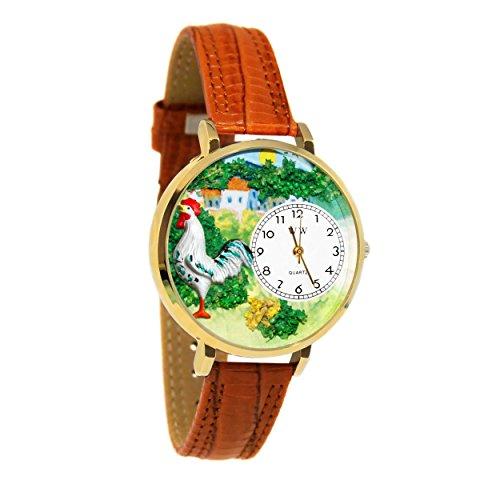 気まぐれな腕時計 かわいい プレゼント クリスマス ユニセックス Rooster Tan Leather And Goldtone Watch #WG-G0110001気まぐれな腕時計 かわいい プレゼント クリスマス ユニセックス
