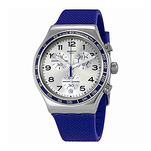 スウォッチ 腕時計 メンズ YVS439 Swatch Frescoazul Silver Dial Mens Chronograph Silicone Watch YVS439スウォッチ 腕時計 メンズ YVS439