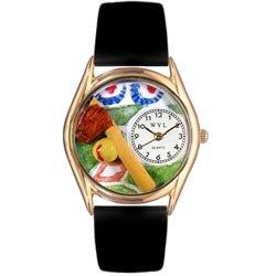 気まぐれな腕時計 かわいい プレゼント クリスマス ユニセックス C0820023 Whimsical Watches Women's C0820023 Classic Gold Softball Black Skin Leather And Goldtone Watch気まぐれな腕時計 かわいい プレゼント クリスマス ユニセックス C0820023