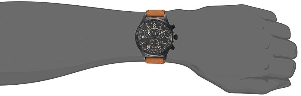 【当店1年保証】タイメックスTimex Men's TW4B12300 Expedition Rugged Field Chronograph Tan/Black Leather Strap Watc