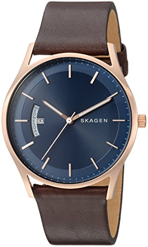 スカーゲン 腕時計 メンズ SKW6395 Skagen Men's Holst Quartz Stainless Steel and Leather Casual Watch, Color: Rose Gold-Tone, Brown (Model: SKW6395)スカーゲン 腕時計 メンズ SKW6395