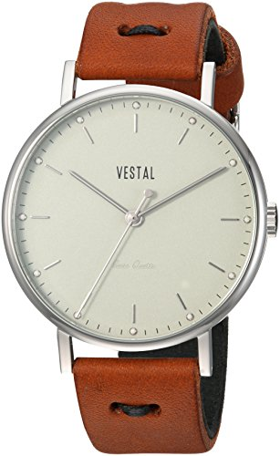 ベスタル ヴェスタル 腕時計 メンズ SOP42-3K05 Vestal Sophisticate Makers Stainless Steel Swiss-Quartz Watch with Leather Calfskin Strap, Brown, 19 (Model: SOP42-3K05ベスタル ヴェスタル 腕時計 メンズ SOP42-3K05