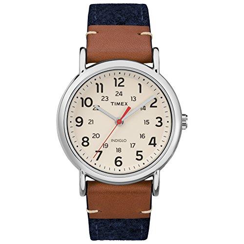 腕時計, レディース腕時計  TW2R42000 Timex Unisex TW2R42000 Weekender 38 BlueBrownCream FabricLeather Strap Watch TW2R42000