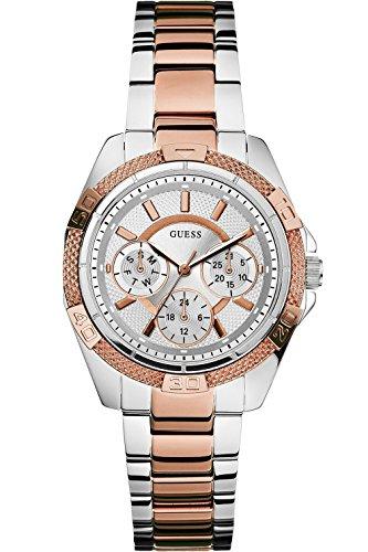 ゲス GUESS 腕時計 レディース W0235L4 GUESS W0235L4 Women's Dynamic Feminine Silver & Rose-Gold-Tone Mid-Size Sportゲス GUESS 腕時計 レディース W0235L4